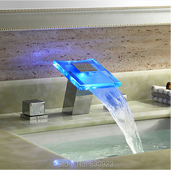 Newly Chrome Finish Solid Brass Color Changing LED Bathroom Basin Sink Faucet Waterfall Glass Spout Mixer Tap Deck Mounted