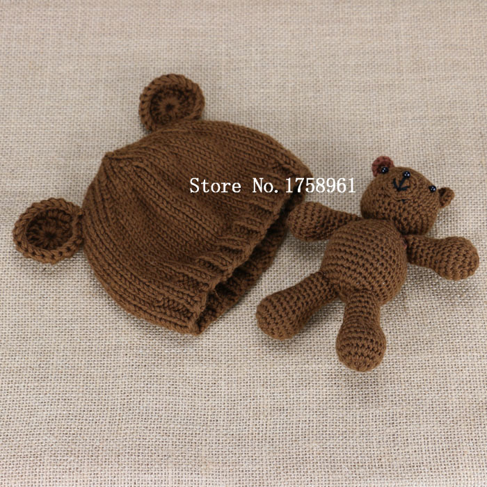 Knitting Pattern For Teddy Bear Hat : Hand Crochet Knitted Baby Hat Teddy Bear Bonnet Photography/Photo Prop newbor...