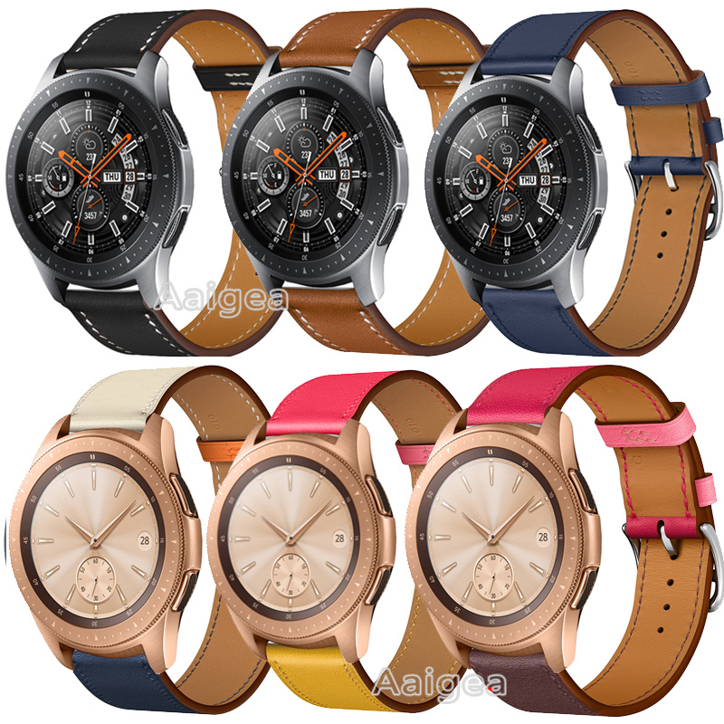 Newest Fashion Genuine <font><b>Leather</b></font> Watch Band Strap for <font><b>Samsung</b></font> Galaxy Watch 42mm <font><b>46mm</b></font> Replacement Wrist band strap for galaxy watch image
