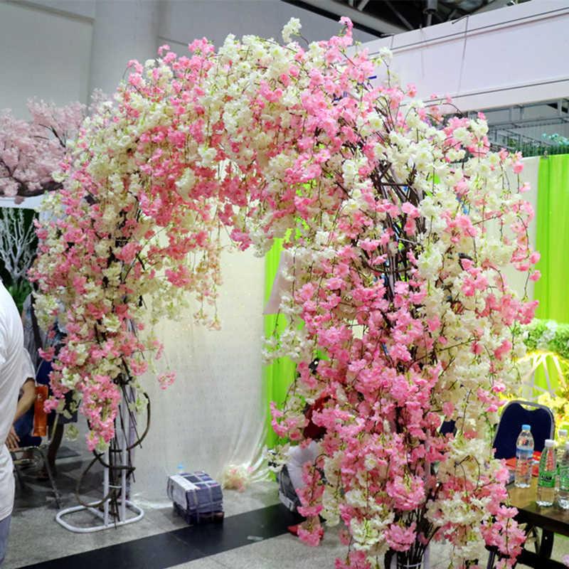 120 Hoofden Verticale Zijde Kunstmatige Cherry Blossom Valentijnsdag Gift Bruiloft Decor Cherry Bomen Nep Bloem Boeket