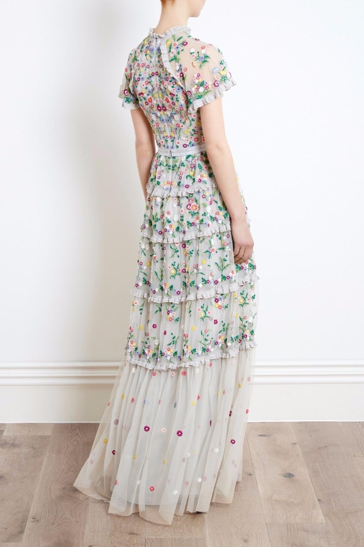 Broderie Haute Designer Ruches Taille Femmes Floral Maille 2018 De Robe Élégant Robes Longue D'été Soirée Piste U5w0qdU