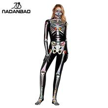 NADANBAO Scary Halloween Cosplay Costume Skeleton Jumpsuit For Women Unisex Bodysuits Elastic Catsuits Disguise Woman