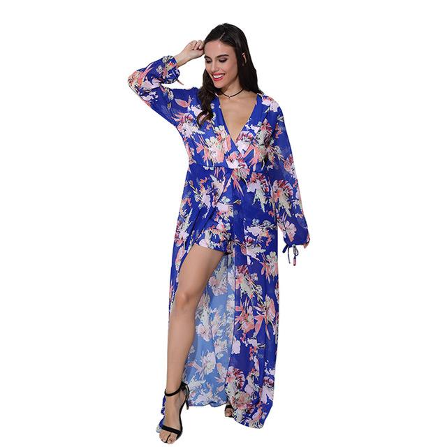 Aproms 2017 Outono Print Floral Elegante Chiffon Mulheres Jumpsuit Romper Playsuit Macacões Sexy Profundo Decote Em V Longo Maxi Shorts 80191