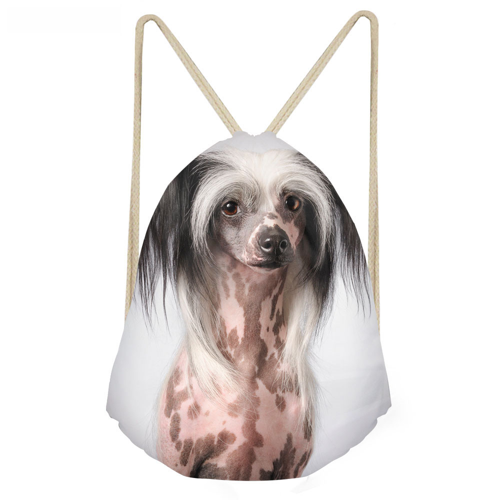 ThiKin Lovely 3D Printing Chinese Crested Dog Print Woman Drawstring Bags Multifunction Softback Backpacks Girl Beach Bags