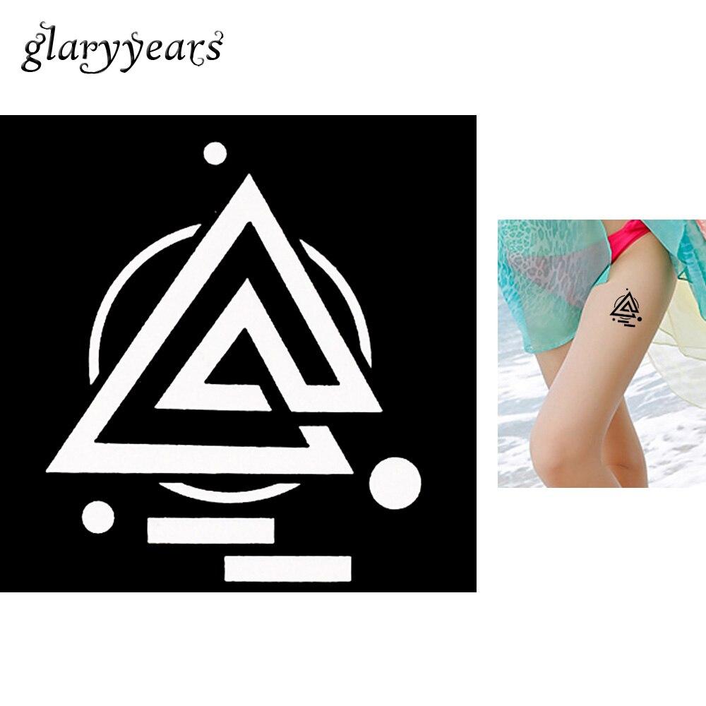1 Blatt Geometrie Henna Tattoo Schablone Dreieck Runde Design Zeichnung Bein Body Art Airbrush Painting Mehndi Tattoo Schablone 2019 G119