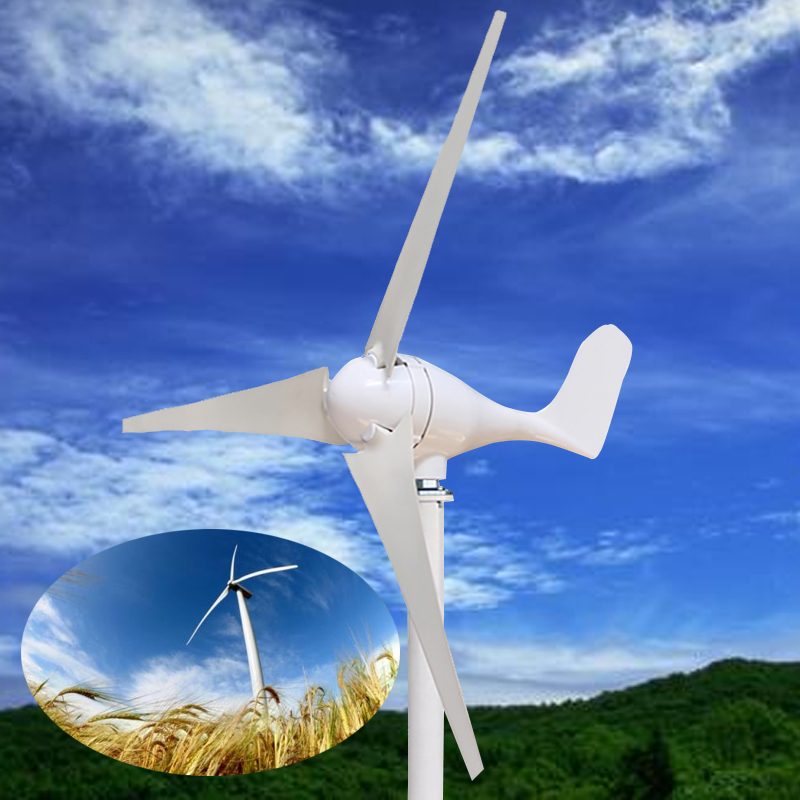 S Type 3 Nylon Fiber Blade Wind Turbines White Horizontal Home Power Energy Generator Windmill For Sightseeing цена
