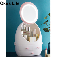 USB Rechargeable Makeup Organizer Cosmetic Storage Box Portable Jewelry Container Dustproof Drawer Waterproof Mirror LED Light