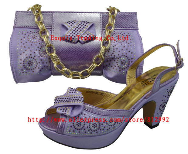 ФОТО Free Shipping 2015 NEW ARRIVAL !!! Italian shoes with matching bags GF12 Light purple size 38-42