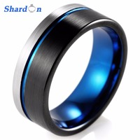 SHARDON Top Quality 8MM Matte Black Silver With Blue Groove Tungsten Ring Comfort Fit Design Men