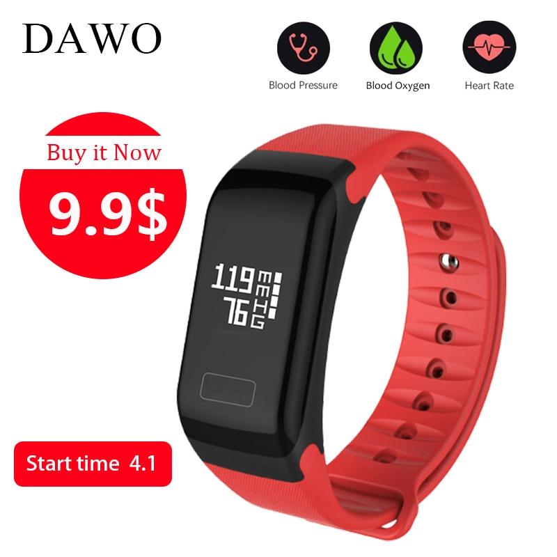 Dawo fitness pulsera actividad Tracker Presión arterial oxígeno Monitores deporte impermeable Smart wristband PK K1 miband 2