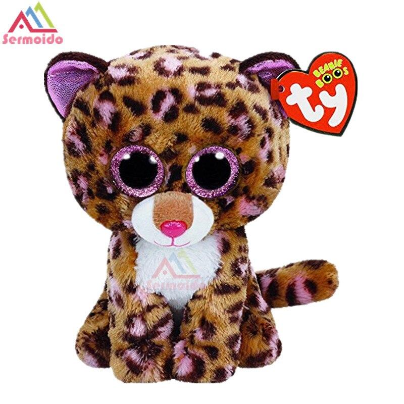Sermoido TY Beanie Боос Дотти Леопард 6 дюймов большие глаза Берет Детские плюшевые игрушки куклы Коллекционные мягкие большие глаза игрушки DBP110