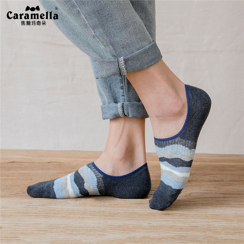 4 Pairs/Lot Caramella Men's Socks Invisible Cotton No Show Socks Denim Blue Stripes Pattern Men's Socks