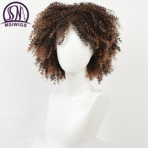 Image 5 - Msiwigs peruca sintética encaracolada para negras, mulheres naturais, castanho, cor ombré, macia, curta, afro, com franja, dois modelos