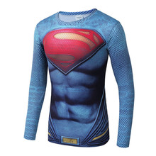 Superman 3D Printed T Shirts Men Compression Shirts Long Sleeve Funny Cosplay Costume Fitness Tops 2017