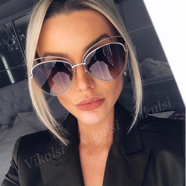 2017 негабаритных зеркало розовый Солнцезащитные очки для женщин Кошачий глаз Винтаж Брендовая Дизайнерская обувь Для женщин Солнцезащитные очки для женщин женские оттенки леди Защита от солнца Очки оптовая продажа