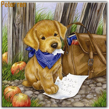 Peter ren Diamond painting cross stitch animal  Full round\square diamond mosaic embroidery home decorPuppy schoolbag apple