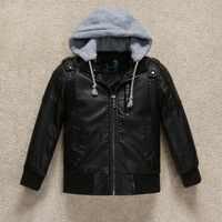 Veste en cuir pour enfants garçons 2019 hiver coupe-vent à capuche Pu vestes pour garçons 3-12y marque enfants vêtements pour bébés filles manteau