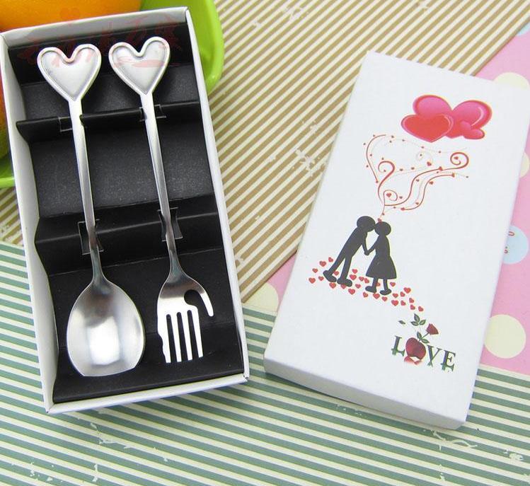 Кухня столовая посуда столовые сервизы с принтом сердца и смайлика вилка и ложка из нержавеющей стали для свадебного подарка 10 комплектов в каждом из компл./лот