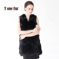 New Real Raccoon Fur Vest Long Custom Multi Color Factory Wholesale Nature Fox Fur Gilet Genuine Fox Fur Vest KNT506