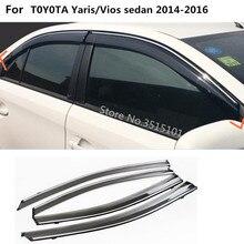 Tampa do carro de plástico Vento vidro Da Janela Visor Chuva/Sun Guard Ventilação lâmpada quadro 4 pcs Para Toyota Vios/ yaris sedan 2014 2015 2016