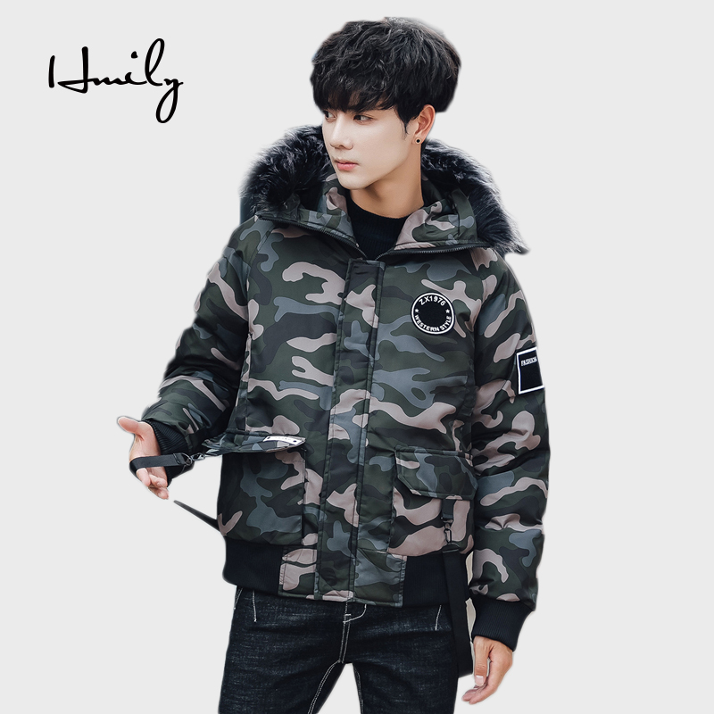 e35eb0b72970a HMILY hombres Parka con capucha abrigo hombres invierno chaqueta moda joven  estudiante guapo chico gruesa Parka marca chaqueta caliente en Chaquetas de  La ...
