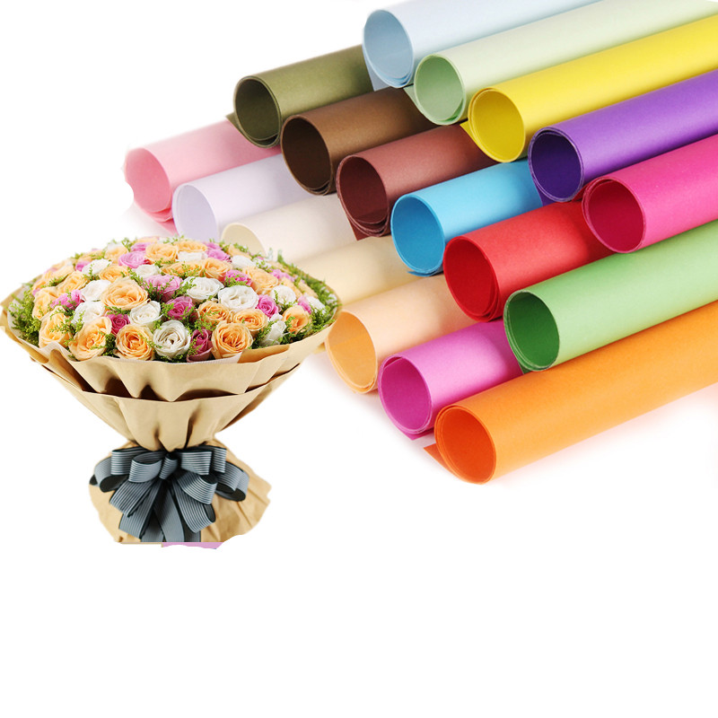 Us 17 99 Pure Color Kraft Paper Flower Wrapping Paper Floral Bouquet Diy Gift Packaging Florist Material Supplies Multi Colors 20 Pcs In Artificial