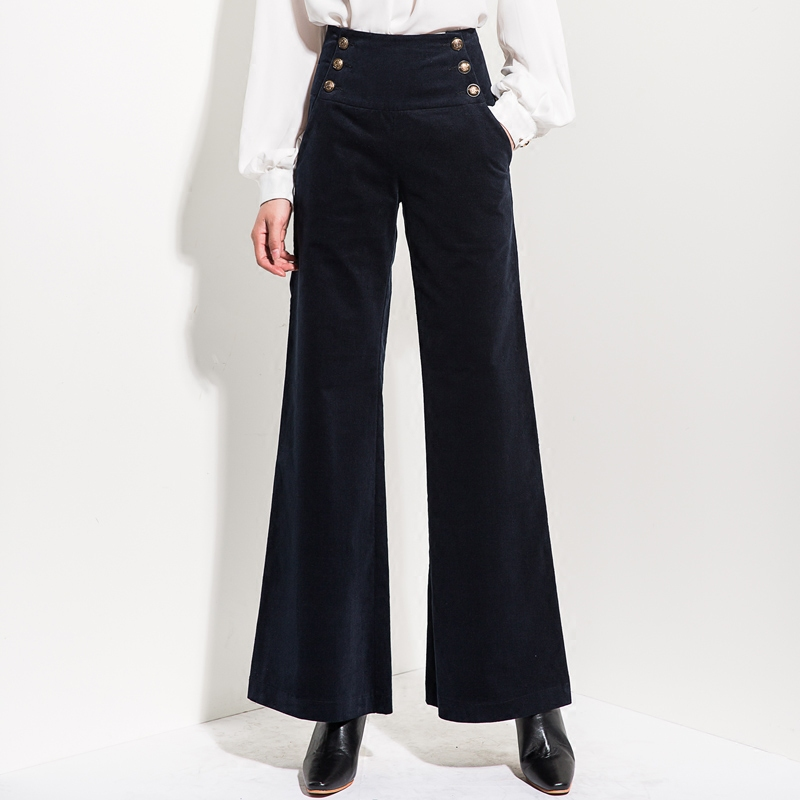 3fcd8205e143e Women Chic Plus Size Wide Leg Pants Button Pocket Corduroy High Waist Casual  Female Trousers Autumn Fashion Trend Cloth MK0110