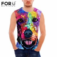 FORUDESIGNS 2017 New Fashion 3D Dog Print Gym Tank Top For Men Bodybuilding Clothes Breathable Sleeveless