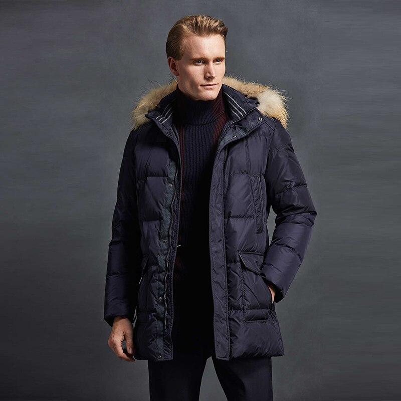 2018 Männer Mode Unten Jacke 90% Weiße Ente Unten Hohe Qualität Winter Mantel Jacke Mid-lange Parka Mantel Freies Verschiffen