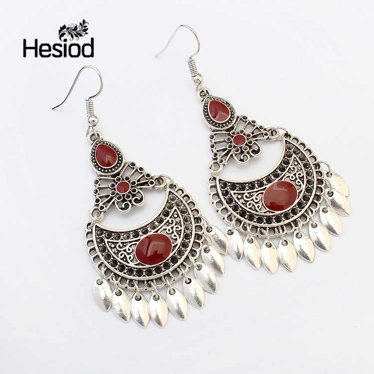 Hesiod Indian Jewelry Boho Earrings Black Red Enamel Beads Rhinestone Drop Ethnic Earring New Water Drop Brincos For Women