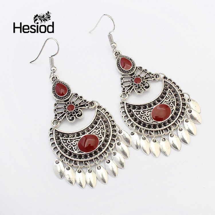Hesiod Indian Jewelry Boho Earrings Black Red Enamel Beads Rhinestone Drop Ethnic Earring New Water Drop Brincos For Women