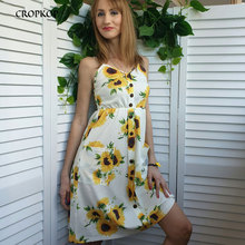 CROPKOP Sunflower Print Dress Summer Fashion Beach Boho Sexy Spaghetti Strap Dresses Button Backless Yellow Sundress Female 2019 sunflower print strap dress