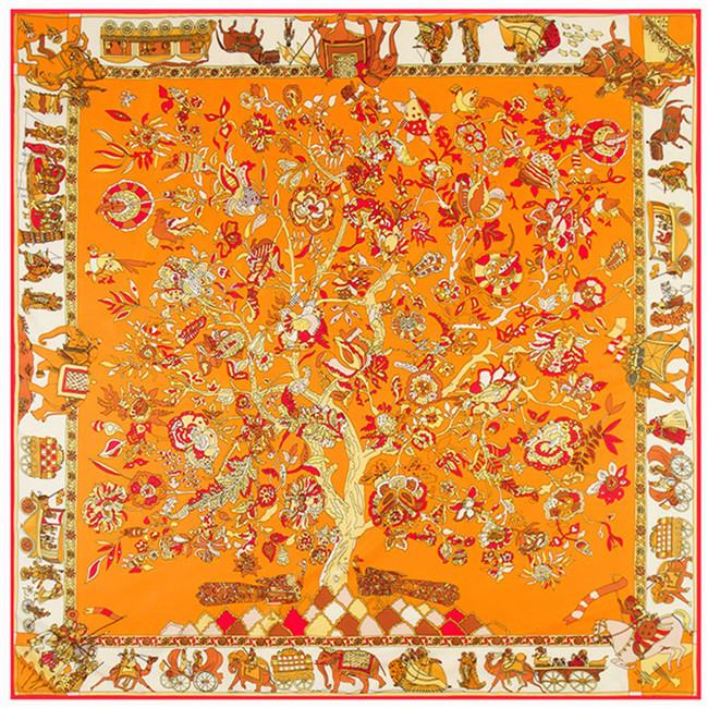 Hot beautiful square silk scarf 130*130cm Women New Fashion The tree of life pattern high quality Fashion shawl Scarves