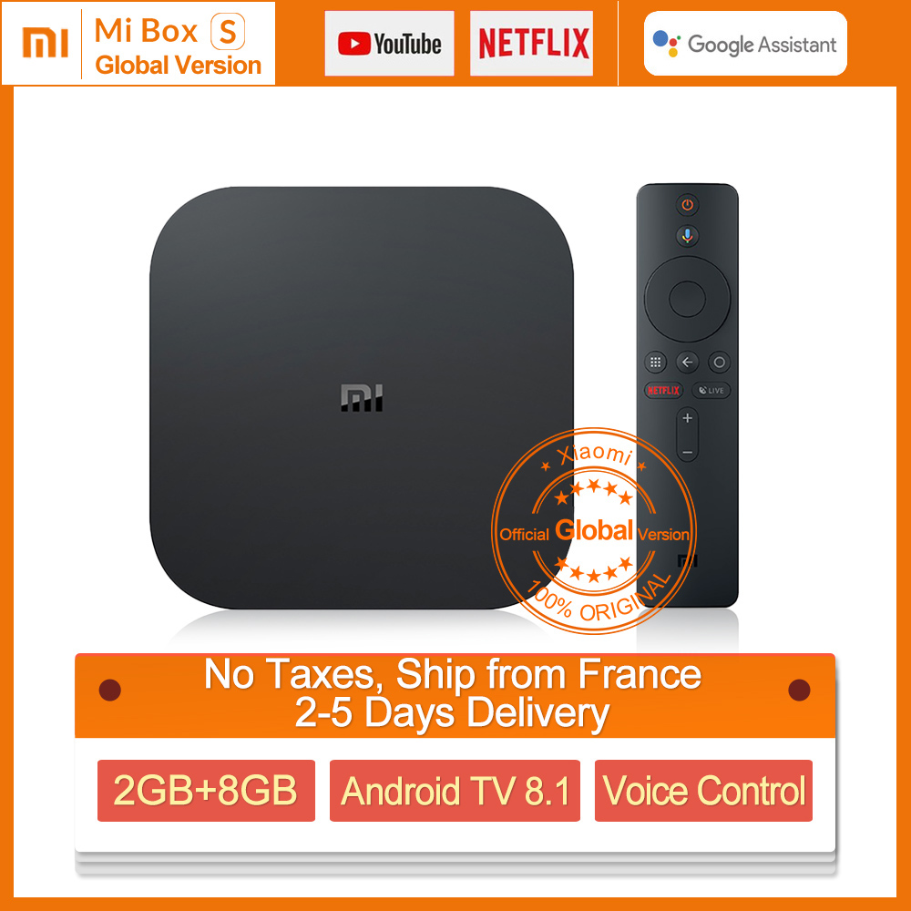 Boîtier TV Original Global Xiao mi mi TV S 4 K HDR Android TV 8.1 Ultra HD 2G 8G WIFI Google Cast Netflix IPTV décodeur 4 lecteur multimédia