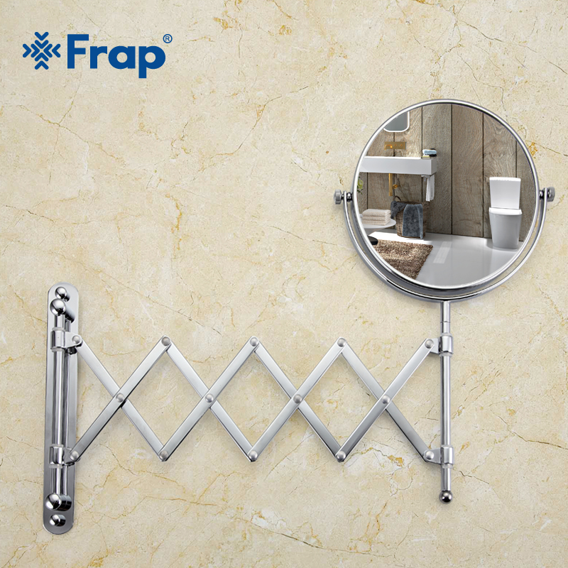 Frap Wall Mounted Makeup Mirror Professional Vanity Mirror Adjustable Countertop 180 Rotating Free Magnifier F6406 F6408 1 piece free shipping anodizing aluminium amplifiers black wall mounted distribution case 80x234x250mm