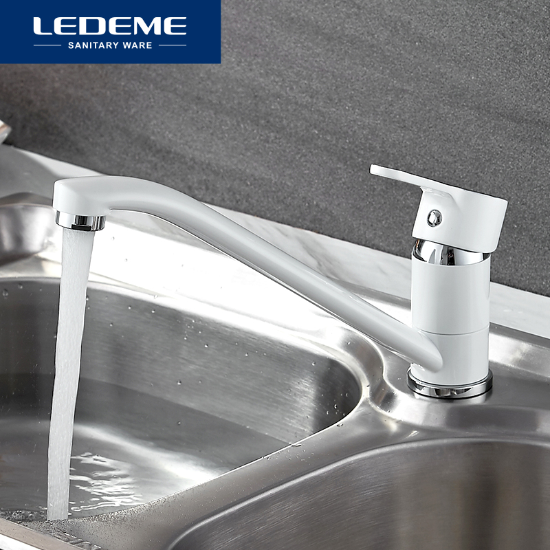LEDEME New Classic Style Kitchen Faucet Solid Brass Single Handle Cold And Hot Water Tap 360 Degree Rotation Spray Paint Faucets