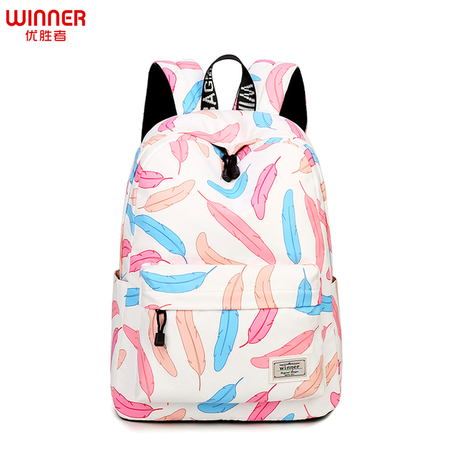 Colorful Feather Printing School Bags Fresh Teenager Girls Book Bags ...