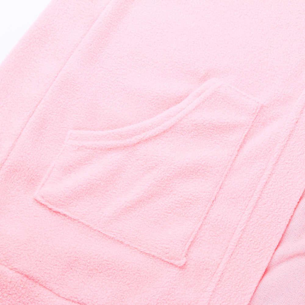 Mulheres grávidas enfermagem casaco de pelúcia outwear feminino manga longa sólida bolso casaco cardigan algodão rosa macio casaco casual outono
