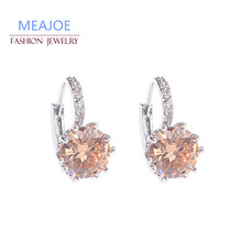 Silver-plated geometry zirconia simple stud round alloy design earrings crystal jewelry