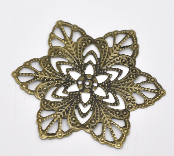 Alloy Embellishments Findings Flower Antique Bronze Flower Hollow Pattern 5.7cm(2 2/8