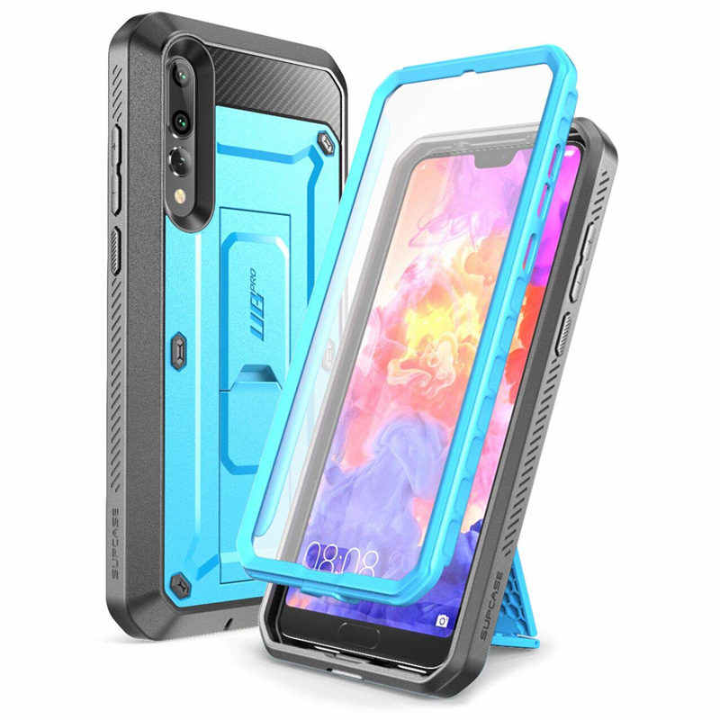 For Huawei P20 Pro Case SUPCASE UB Pro Heavy Duty Full-Body Black Blue Rugged Case with Built-in Screen Protector & Kickstand