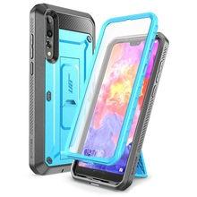 Huawei P20 Pro kılıf SUPCASE UB Pro ağır tam vücut siyah mavi sağlam durumda dahili ekran koruyucu ve Kickstand