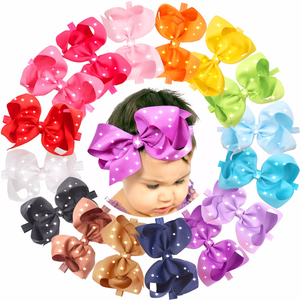 16pcs 6 Inches Large Big Hair Bows With Sparkly Rhinestones Hair Bow Soft Elastic Headbands