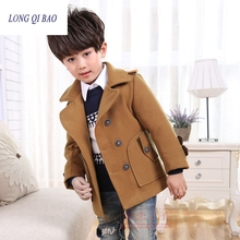 Высококачественное новое зимнее пальто для мальчиков; модное двубортное однотонное детское шерстяное пальто темно-Красного цвета; куртка для мальчиков; детская верхняя одежда