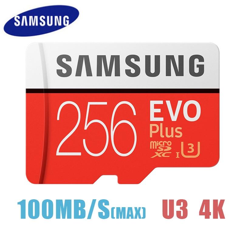SAMSUNG-tarjeta de memoria Micro SD EVO Plus, 256GB, 95 MB/s, Class10, U3, UHS-I, TF, 4K, HD, para teléfono móvil, tableta, etc.