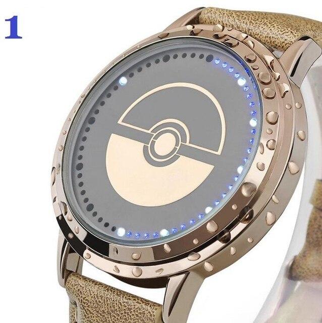 Прохладный Наручные Часы Горячие Игры Pokemon Идем Мужчины Женщины Pokeball Часы Новый Модный Водонепроницаемый Сенсорный Экран LED Натуральная Кожа Смотреть