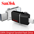 Free Shipping Original SanDisk 130MB/S Ultra Dual OTG USB 3.0 Flash Drive SDDD2 16GB 32GB 64GB Mini Usb Flash Drive Memory Stick