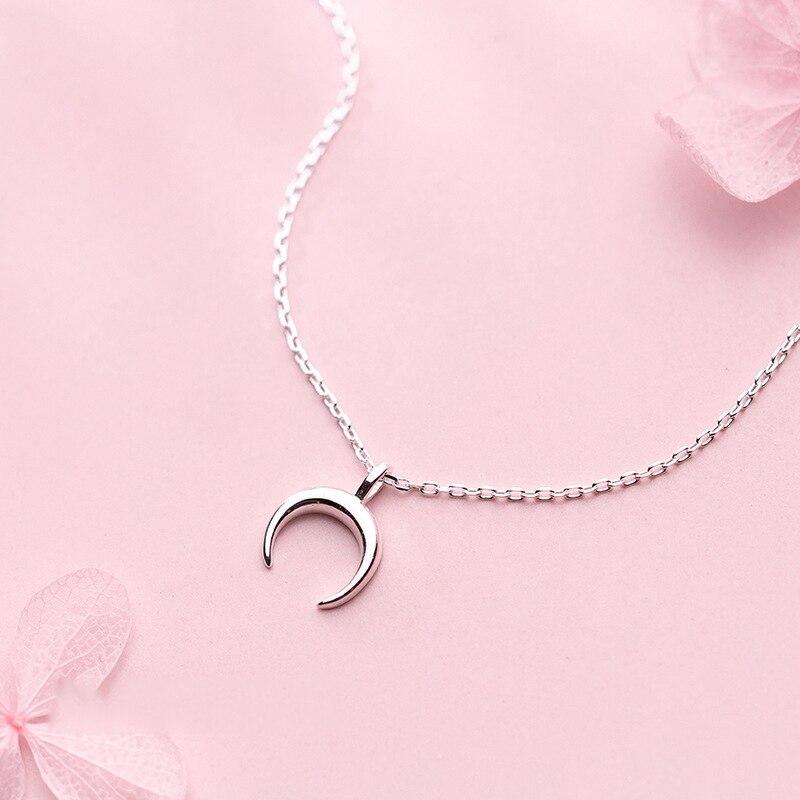 925 Silver Pendants Moon Necklace Choker Best Friend Kolye Vintage Boho Bijoux Femme Collier Collane Necklace Women Jewelry