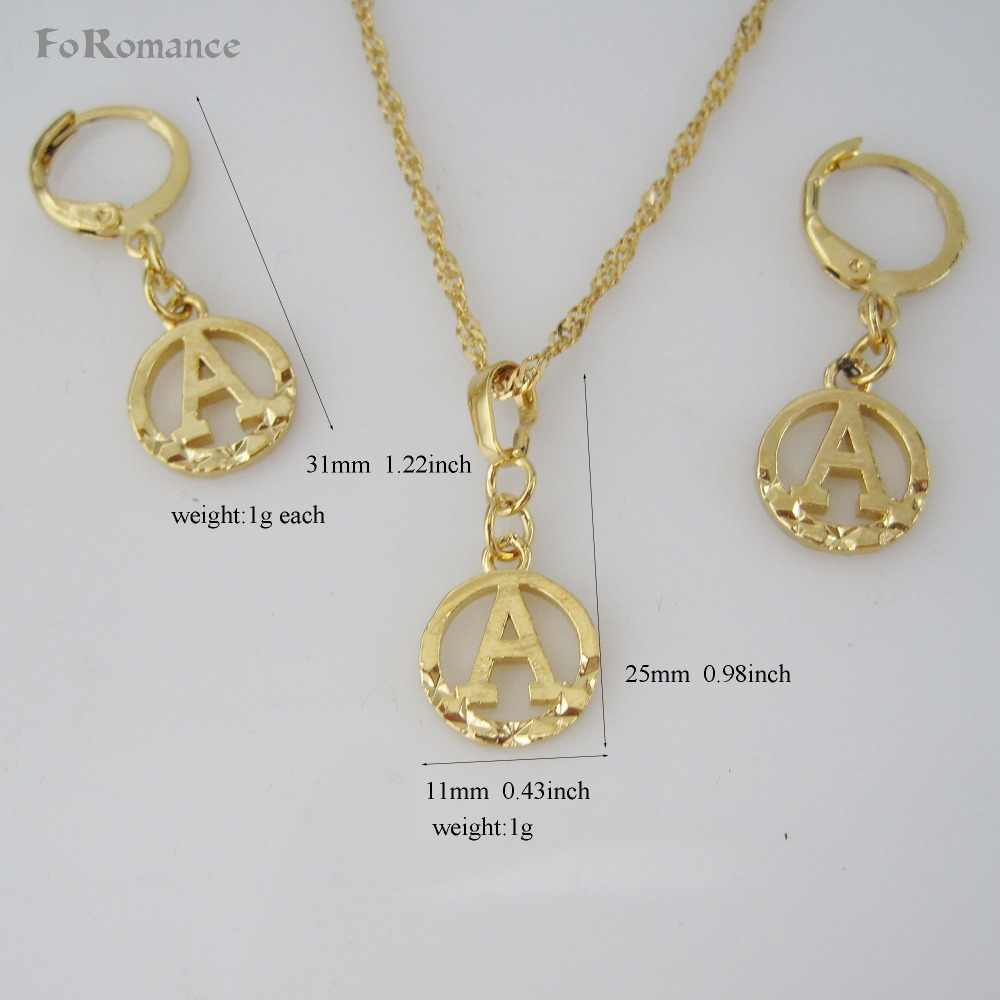 "FoRomance- HIGH QUALITY GOLD GP 26 LETTERS INITIALS FROM A TO  T CIRCLE STAR CARVED PENDANT 18"" WATER WAVE NECKLACE EARRING SET"