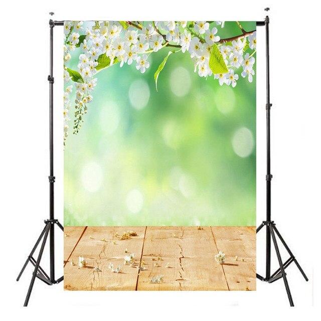 Marvelous 5X7 FT Green White Flower Vinyl Photography Background Studio Photo Prop  Wood Floor Photographic Backdrop Cloth